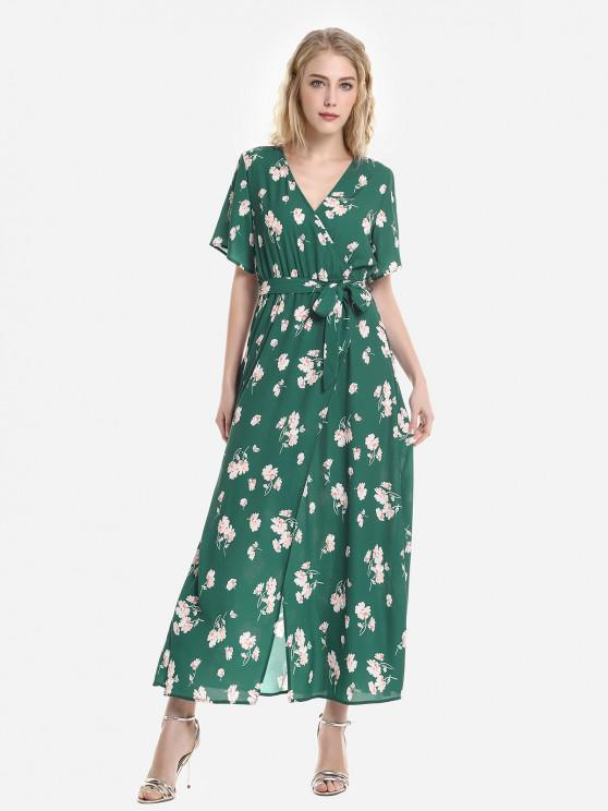 buy ZAN.STYLE Short Sleeve Floral Print Surplice Dress - GREEN AND PINK XL