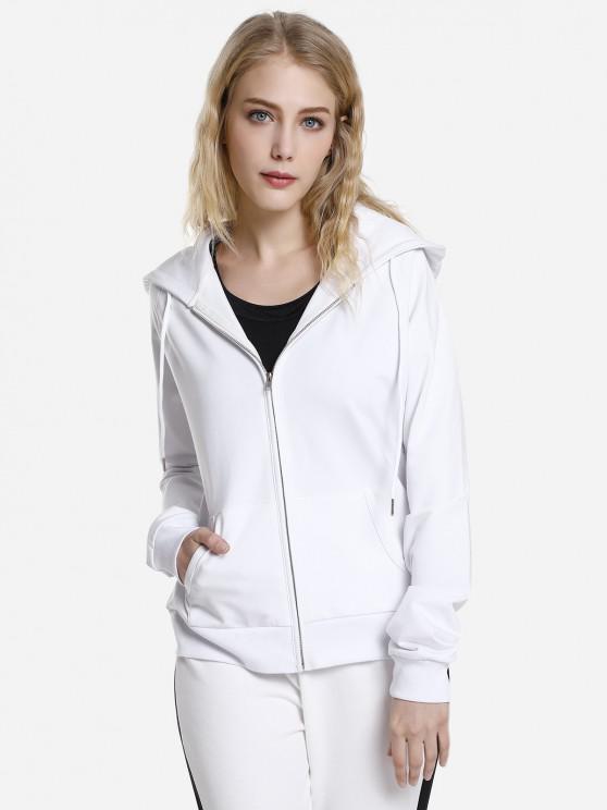 trendy ZAN.STYLE Full Zip Fleece Hoodie - WHITE XL