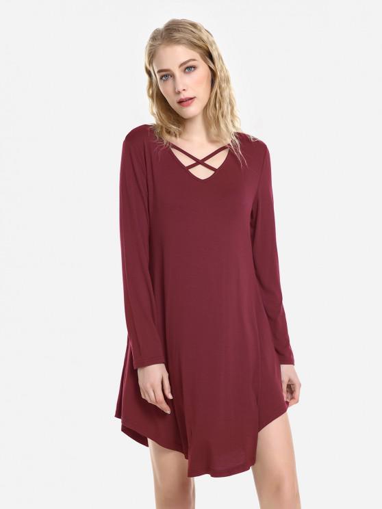 ZAN.STYLE Swing Dress - 酒紅色 XL