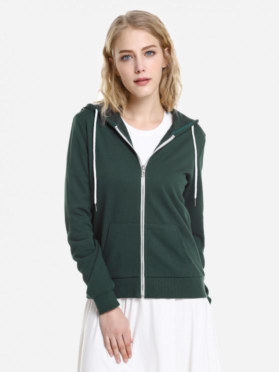 outfit ZAN.STYLE Contrast Drawstring Zip Up Fleece Hoodie - BLACKISH GREEN L