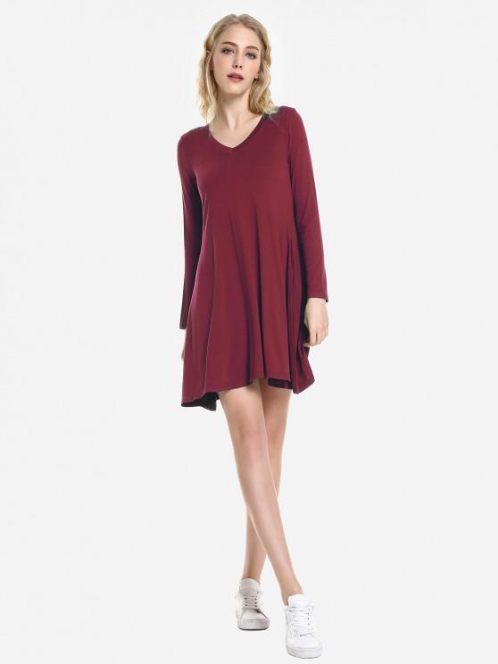 latest ZAN.STYLE V Neck Dress - WINE RED XL