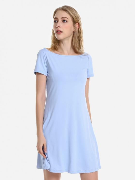 chic ZAN.STYLE Dolman T-Shirt Dress - LIGHT BLUE XL