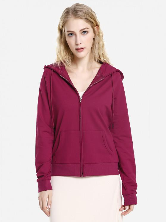 latest ZAN.STYLE Full Zip Fleece Hoodie - WINE RED M