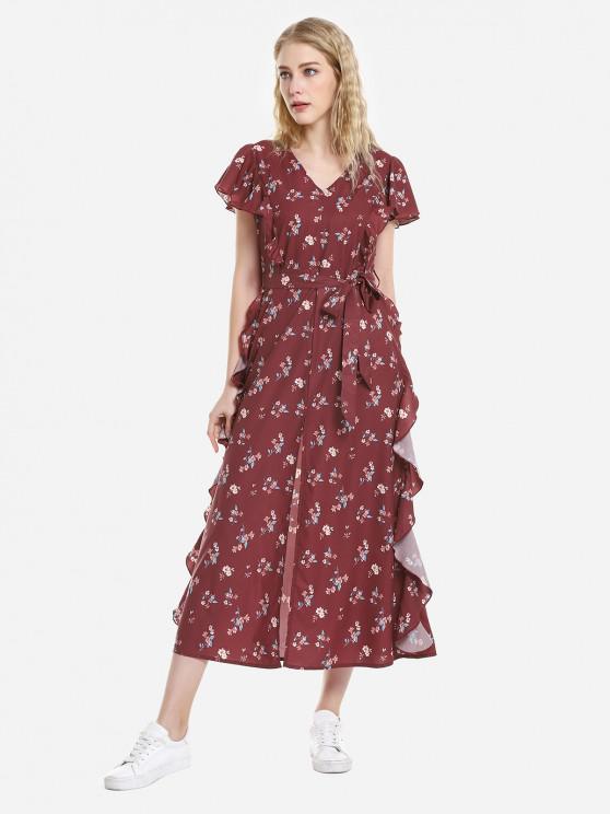 women ZAN.STYLE V Neck Ruffle Sleeve Dress - WINE RED L