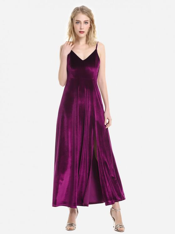 ladies ZAN.STYLE Velvet Adjustable Strip Slip Dress - PURPLISH RED L
