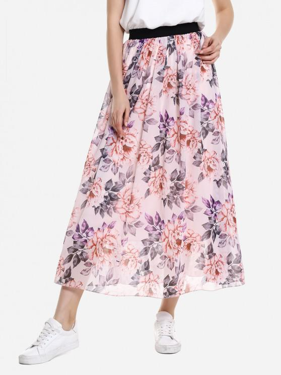 shop ZAN.STYLE Wide Waistband Maxi Skirt - PINK XL