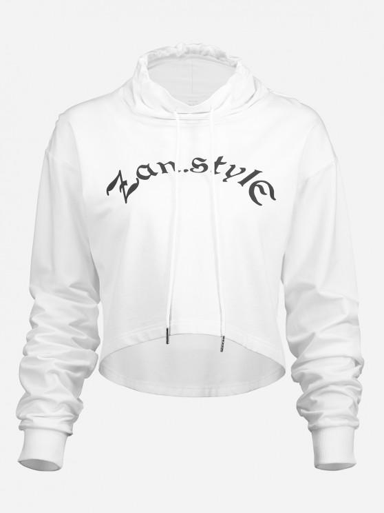 affordable ZAN.STYLE Drawstring Cropped Hoodies - WHITE S