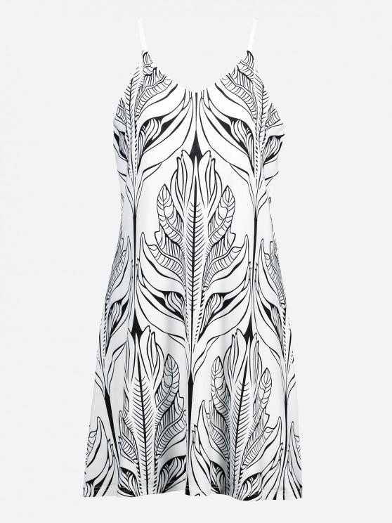 womens ZAN.STYLE V Neck Causal Slip Dress - WHITE AND BLACK XL