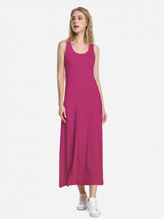 women's ZAN.STYLE Round Neck Vest Dress - PURPLISH RED L