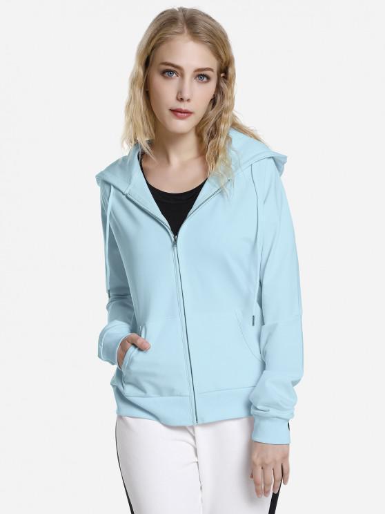 womens ZAN.STYLE Full Zip Fleece Hoodie - SKY BLUE S