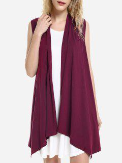 ZAN.STYLE Sleeveless Open Front Vest - Deep Red M