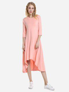 ZAN.STYLE High Low Hem Dress - Orangepink M