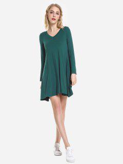 ZAN.STYLE V Neck Dress - Blackish Green Xl