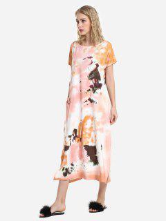 ZAN.STYLE Batwing Sleeve Dress - Orange L