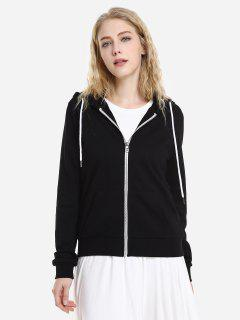 ZAN.STYLE Contrast Drawstring Zip Up Fleece Hoodie - Black L