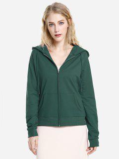 ZAN.STYLE Full Zip Fleece Hoodie - Blackish Green L