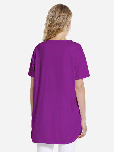 ZAN.STYLE Dolphin Hem Tee - 紫色 XL Mobile