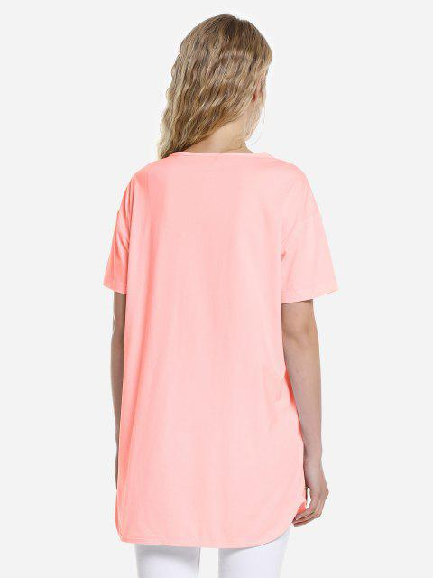 outfit ZAN.STYLE Dolphin Hem Tee - ORANGEPINK M Mobile