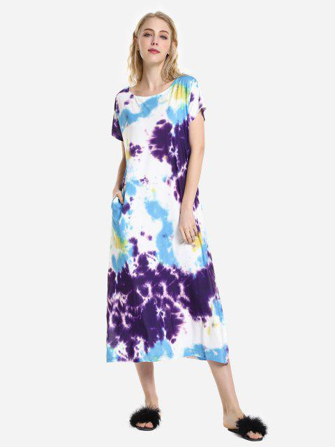 affordable ZAN.STYLE Batwing Sleeve Dress - PURPLE L Mobile