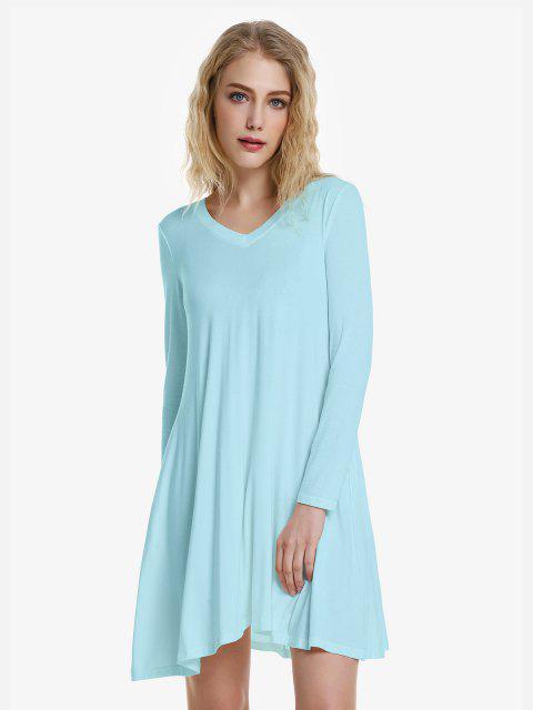 best ZAN.STYLE V Neck Dress - WINDSOR BLUE L Mobile