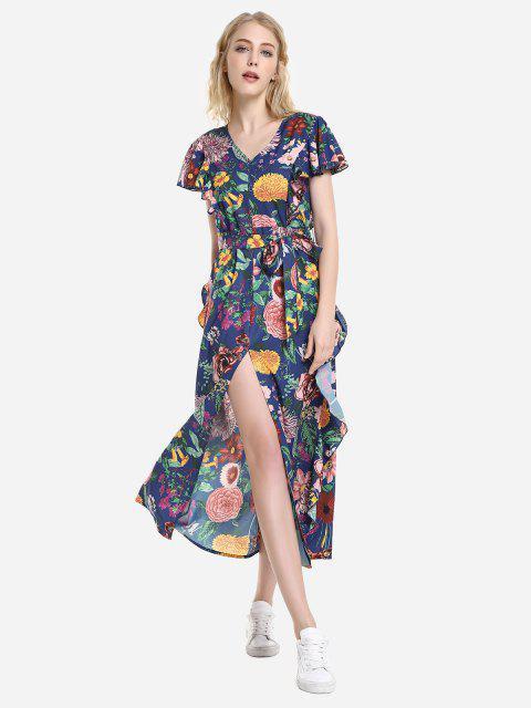 fashion ZAN.STYLE V Neck Ruffle Sleeve Dress - BRIGHT BLUE S Mobile