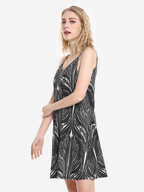 ZAN.STYLE V Neck Causal Slip Dress - أسود XL Mobile