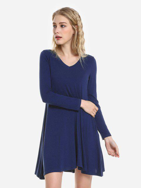 shop ZAN.STYLE V Neck Dress - CERULEAN L Mobile