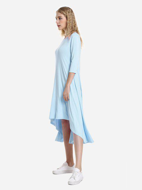 ZAN.STYLE Hohes Niedriges Saum Kleid - windsor blau  M Mobile