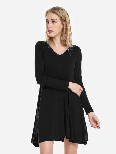 outfit ZAN.STYLE V Neck Dress - BLACK XL Mobile