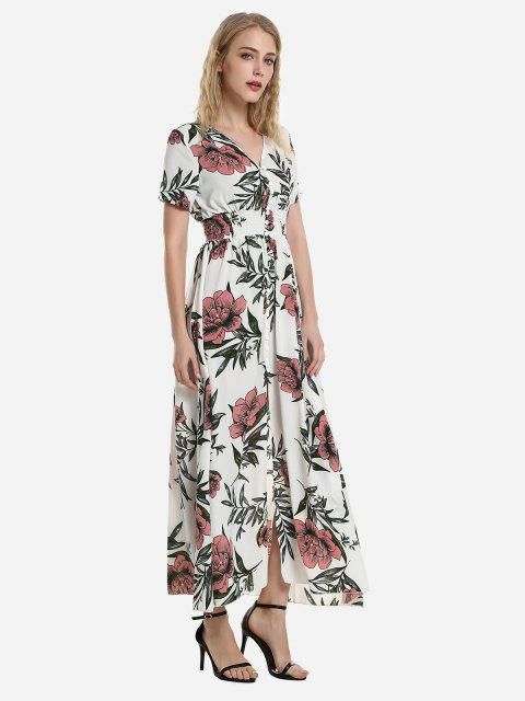 ZAN.STYLE Short Sleeve Floral Print V Neck Dress - الأحمر مع الأبيض XL Mobile