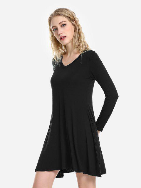 affordable ZAN.STYLE V Neck Dress - BLACK L Mobile