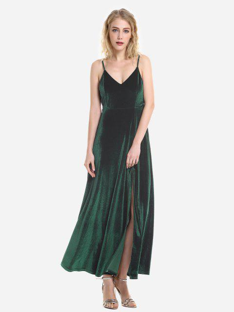 ZAN.STYLE Velvet Adjustable Strip Slip Dress - 墨綠色 L Mobile