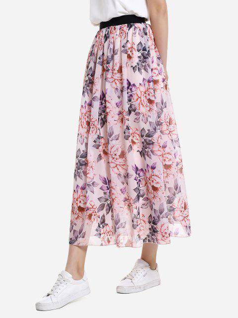 fancy ZAN.STYLE Wide Waistband Maxi Skirt - PINK L Mobile
