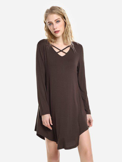latest ZAN.STYLE Swing Dress - CAPPUCCINO XL Mobile