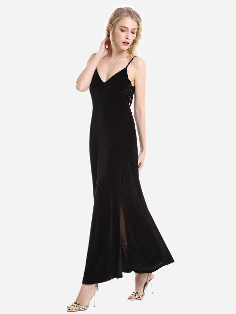 ZAN.STYLE Velvet Adjustable Strip Slip Dress - 黑色 L Mobile