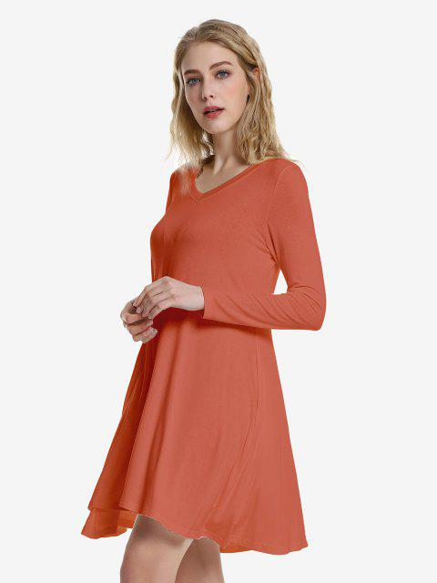 women ZAN.STYLE V Neck Dress - BRICK-RED XL Mobile
