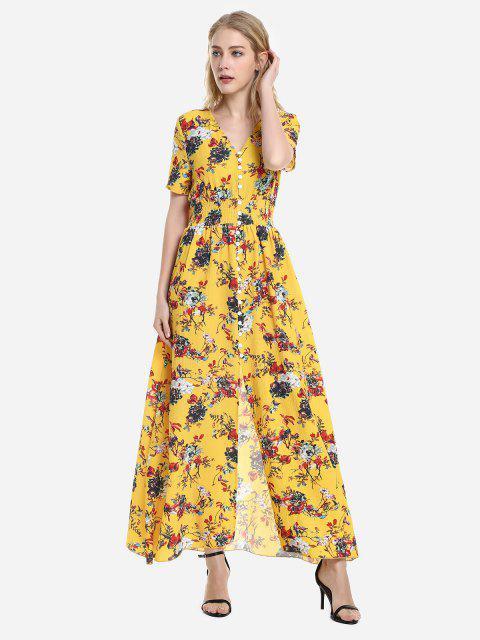 ZAN.STYLE Short Sleeve Floral Print V Neck Dress - الأصفر M Mobile