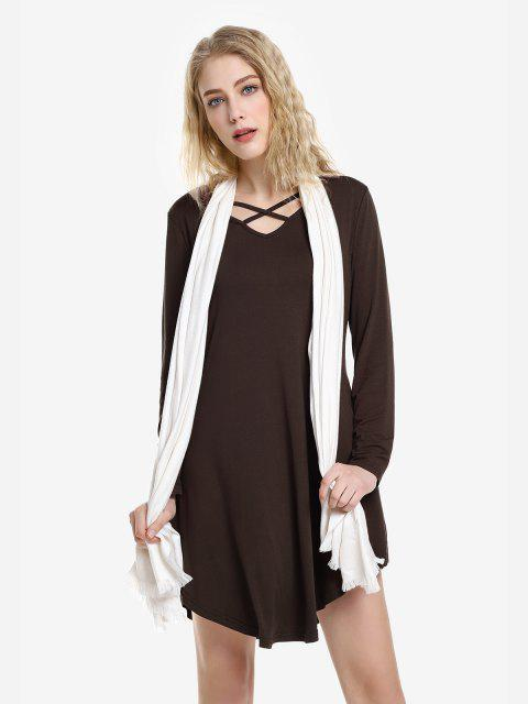 womens ZAN.STYLE Swing Dress - CAPPUCCINO L Mobile