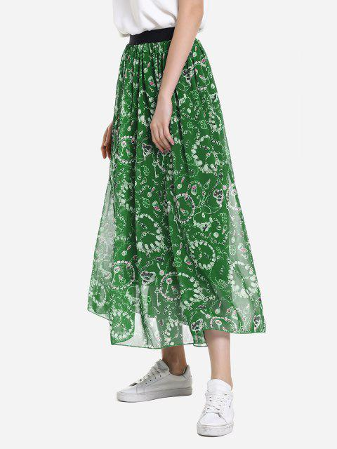 women ZAN.STYLE Wide Waistband Maxi Skirt - GREEN L Mobile