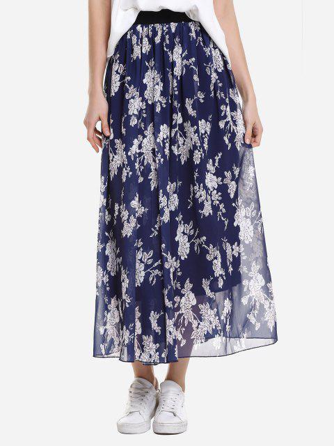 shop ZAN.STYLE Wide Waistband Maxi Skirt - BLUE M Mobile