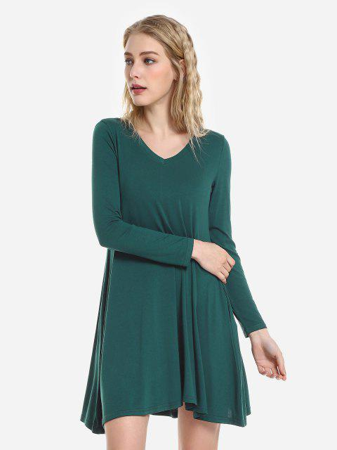 latest ZAN.STYLE V Neck Dress - BLACKISH GREEN XL Mobile