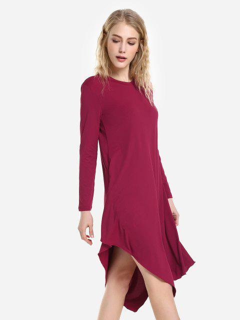 fashion ZAN.STYLE Long Sleeve Dress - WINE RED L Mobile