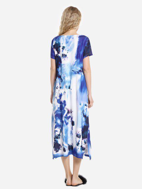 women's ZAN.STYLE Batwing Sleeve Dress - BLUE L Mobile