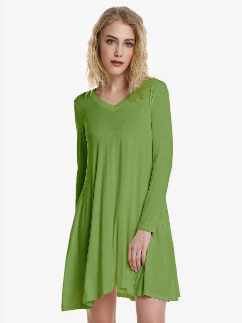 ladies ZAN.STYLE V Neck Dress - OLIVE GREEN M Mobile