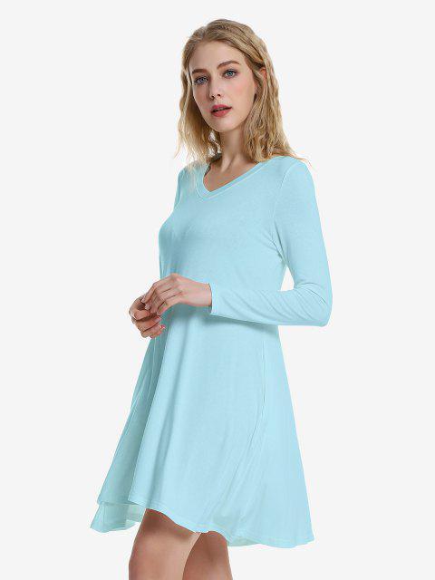 fashion ZAN.STYLE V Neck Dress - WINDSOR BLUE XL Mobile