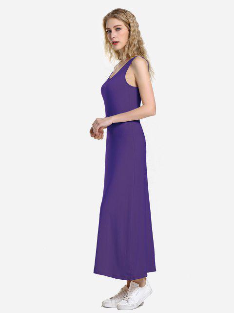 women ZAN.STYLE Round Neck Vest Dress - PURPLE S Mobile