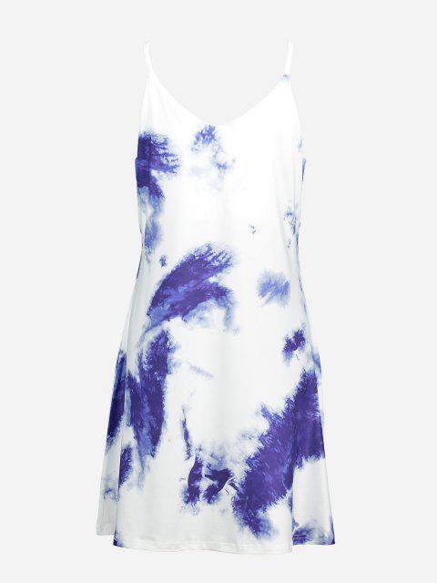 ZAN.STYLE V Neck Causal Slip Dress - أزرق XL Mobile