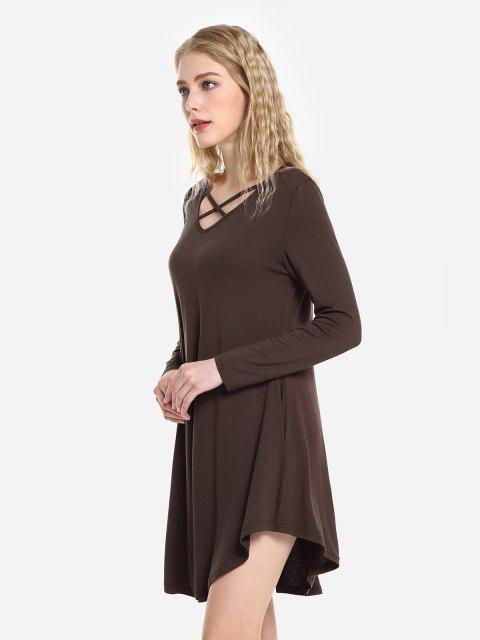 womens ZAN.STYLE Swing Dress - CAPPUCCINO M Mobile