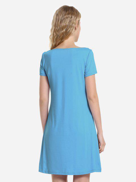 latest ZAN.STYLE Dolman T-Shirt Dress - LAKE BLUE L Mobile