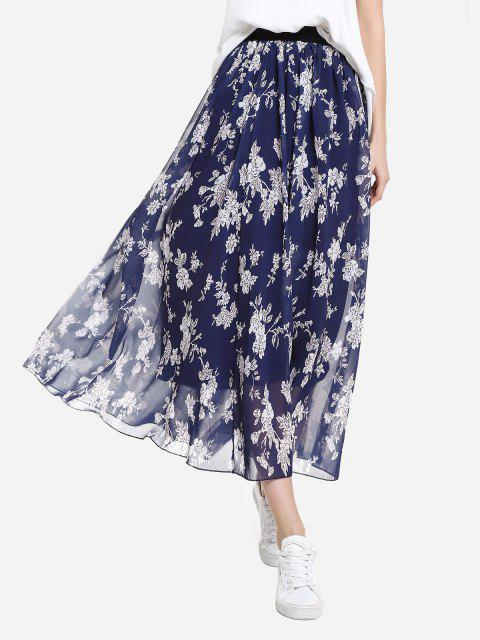 shop ZAN.STYLE Wide Waistband Maxi Skirt - BLUE L Mobile